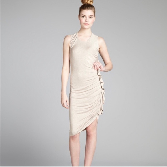 BCBGMaxAzria Dresses & Skirts - BCBG Hada Side Ruffle Dress in Pumice